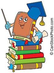 Book teacher on pile of books - isolated illustration.
