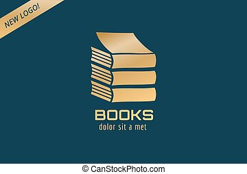 Book template logo icon. Back to school. Education, university, college symbol or knowledge, books stack, publish, page, paper. Design element.