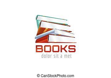 Book template logo icon. Back to school. Education, university, college symbol or knowledge, books stack, publish, page paper. Design element. Isolated on white.