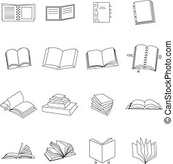 Book thin icons set