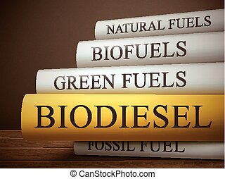 book title of biodiesel isolated on a wooden table over dark...