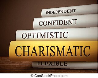 book title of charismatic isolated on a wooden table over ...
