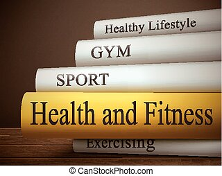 book title of health and fitness isolated on a wooden table...