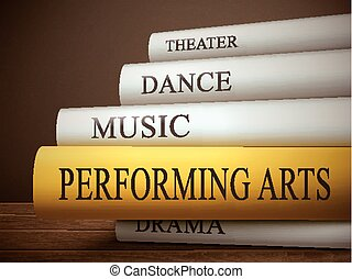 book title of performing arts isolated on a wooden table...
