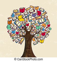 Book tree for education concept illustration