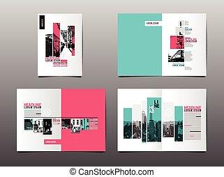 book., vecteur, annuel, conception, couverture, disposition, rapport