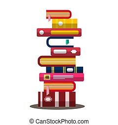 Book. Vector Flat Design Heap. Pile of Books. Vector.