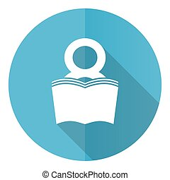 Book vector icon, flat design blue round web button isolated on white background