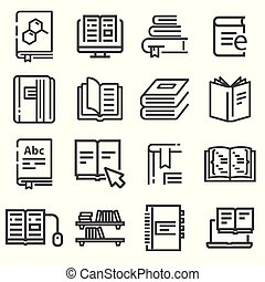 Book vector icons set. Line illustration isolated