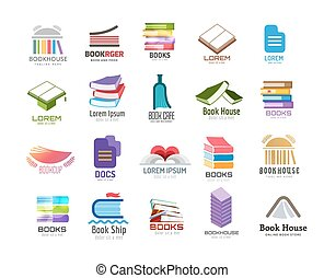 Book vector logo template set. Back to school. Education, university, college symbol or knowledge, books stack, publish, page paper. Design element. Isolated on white.