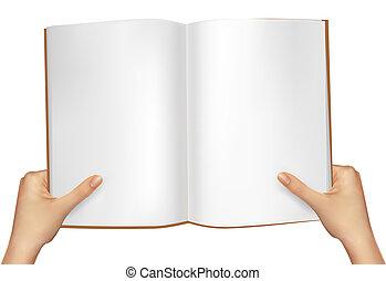 book., vektor, abbildung, halten hände, rgeöffnete