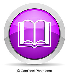 book violet glossy icon on white background