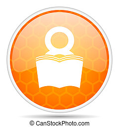 Book web icon. Round orange glossy internet button for webdesign.