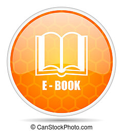 Book web icon. Round orange glossy internet button for webdesign.