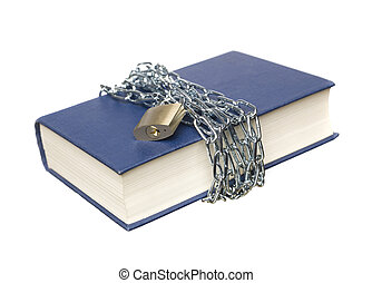 Book with a chain and lock