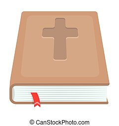 Book with a cross on the cover. The Bible. Easter single icon in cartoon style vector symbol stock illustration.