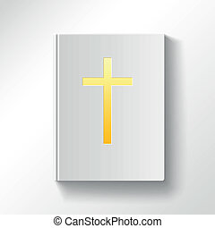 Book with a gold cross. Top view