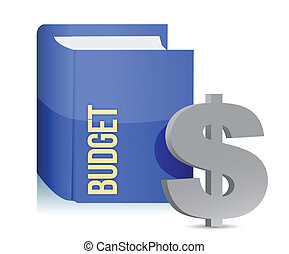 book with a label with text: budget