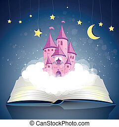 Book with a Princess Castle - Vector Illustration of an open...