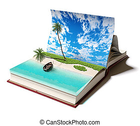 book with a tropical island - Open book with a tropical...