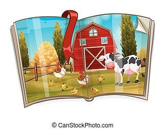 Book with animals in the farm scene