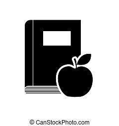 book with apple fruit icon