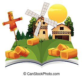 Book with barn and scarecrow in the farm