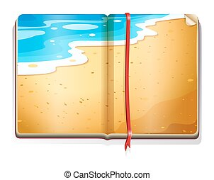 Book with beach scene