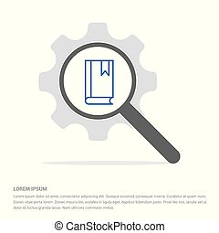 Book with bookmark icon Search Glass with Gear Symbol Icon template