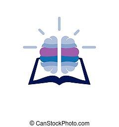book with brain idea logo icon vector