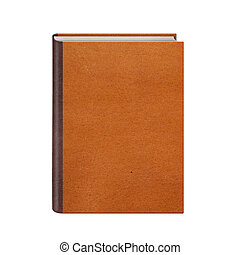 Book with brown leather hardcover isolated on white...
