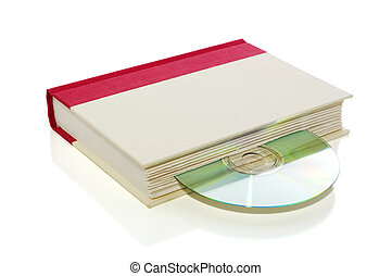 Book with CD/DVD isolated on white with clipping path