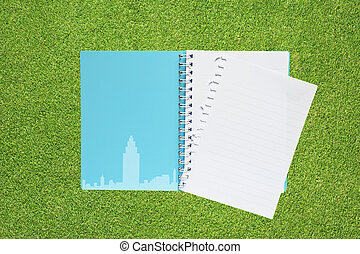 Book with city on grass background