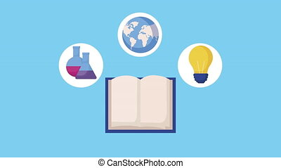 book with education supplies animation - book with education...