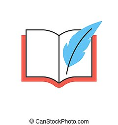 Book with feather pen line icon