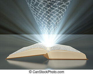 Book with floating text and light