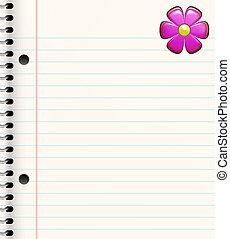 book with flower - spiral bound book with bright pink flower...