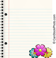book with flowers - spiral bound book with three bright...