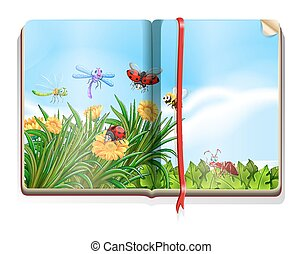 Book with garden scene full of insects and flowers