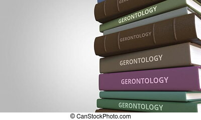 Book with GERONTOLOGY title, loopable 3D animation