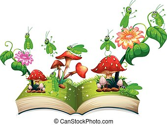 Book with grasshopper and mushroom