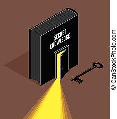 Book with half open door and turnkey vector 3d isometric ...