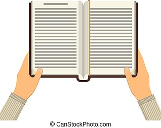 Book with hands. Knowledge, education flat concept.