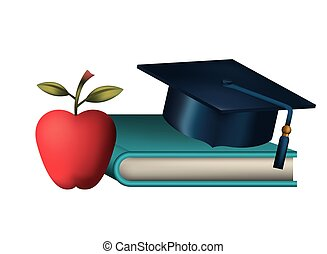book with hat and apple isolated icon