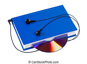 Book with headphones and cd isolated on white background.