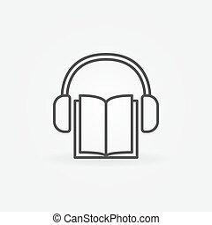 Book with headphones icon