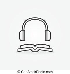 Book with headphones line icon