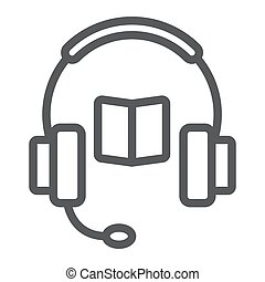 Book with headphones line icon, e learning and education, audio guide sign vector graphics, a linear pattern on a white background, eps 10.