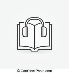 Book with headphones vector icon