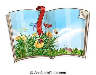 Book with insects flying in garden scene illustration